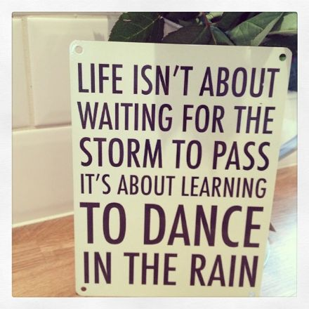 Under £5 Dance in the rain metal sign